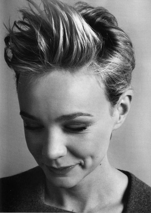 Styling short hair in the opposite of the intended direction, á la Carrie Mulligan, can get you through a styling rut (or those days right before your next trim!). Tip from @Tamara Walker - Trademark Image Consulting Blow-drying your hair in the opposite direction will give your hair more body as well.