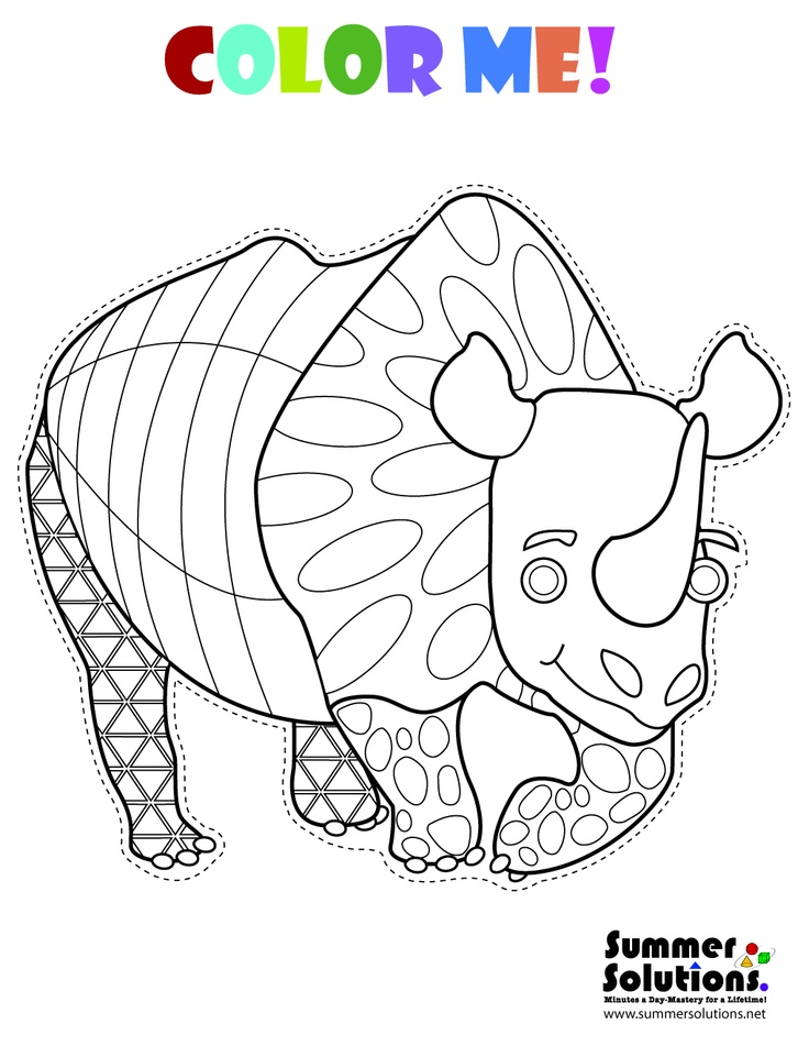 cute rhino coloring page coloring pages pinterest