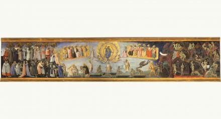 Giovanni di Paolo di Grazia,  Last Judgement, Paradise, Hell,  C 1460-1465,  Inv. 172,  tempera on board,  42 x 253 cm,  Siena, Pinacoteca Nazionale