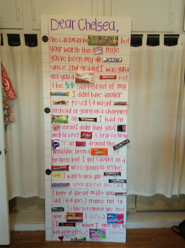 Diy giant card with candies birthday party ideas