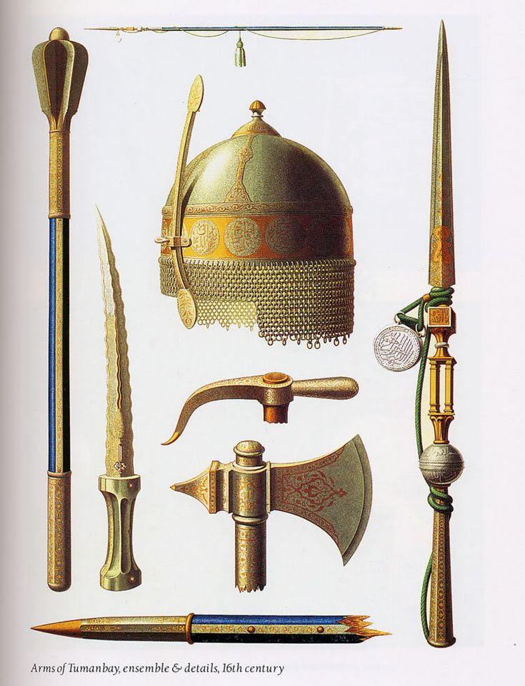 Armes, casque hache, lance et masse de guerre de Tuman bay Sultan Mamelouk d'Egypte, 16eme siècle .