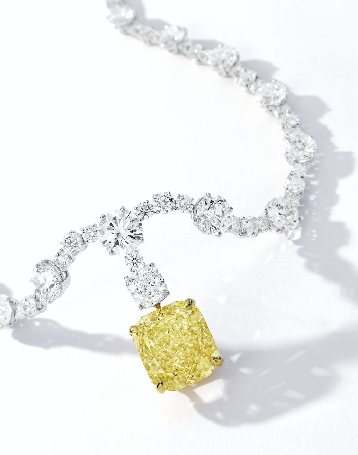 Fancy Intense Yellow Diamond and Diamond Necklace   Lot   Sotheby's