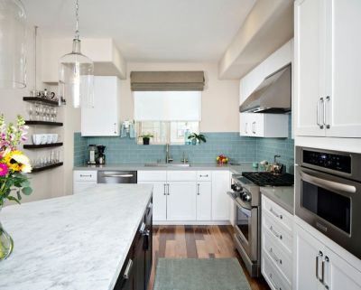 contemporary kitchen by KW Designs; subway tile