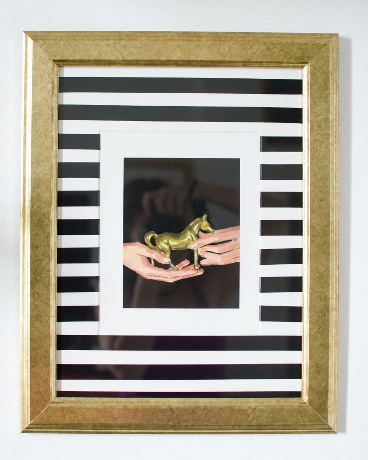 Use electrical tape to make a striped picture frame mat #DIY #ikeahack