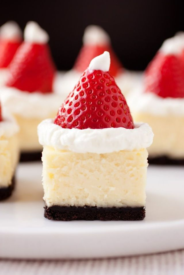 Santa Hat White Chocolate Cheesecake Bites.