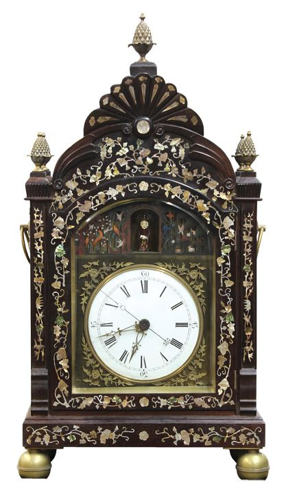 "Mother of pearl marquetry decorated eight bell, double fusee bracket clock with automaton, 32""h x 17""w x 9""d"