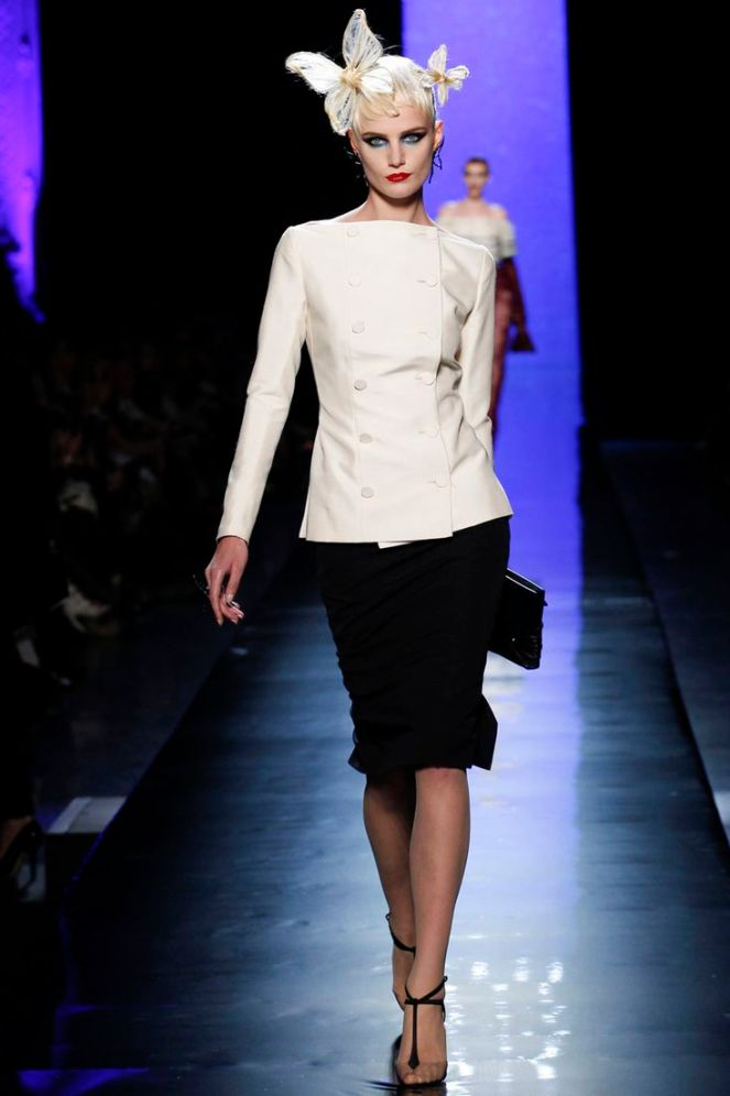 Jean Paul Gauliter haute couture 2014, black and white suit, blue eyeshadow, red lip, bow hair