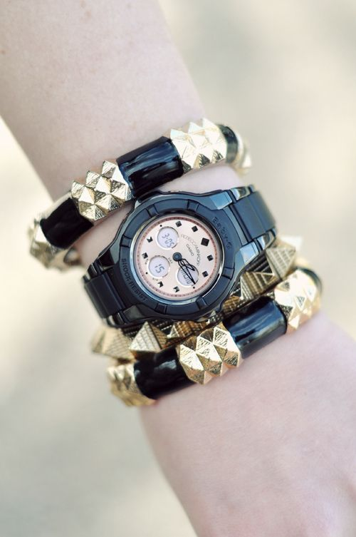 Rebecca Minkoff watch, chunky black & gold bracelets!