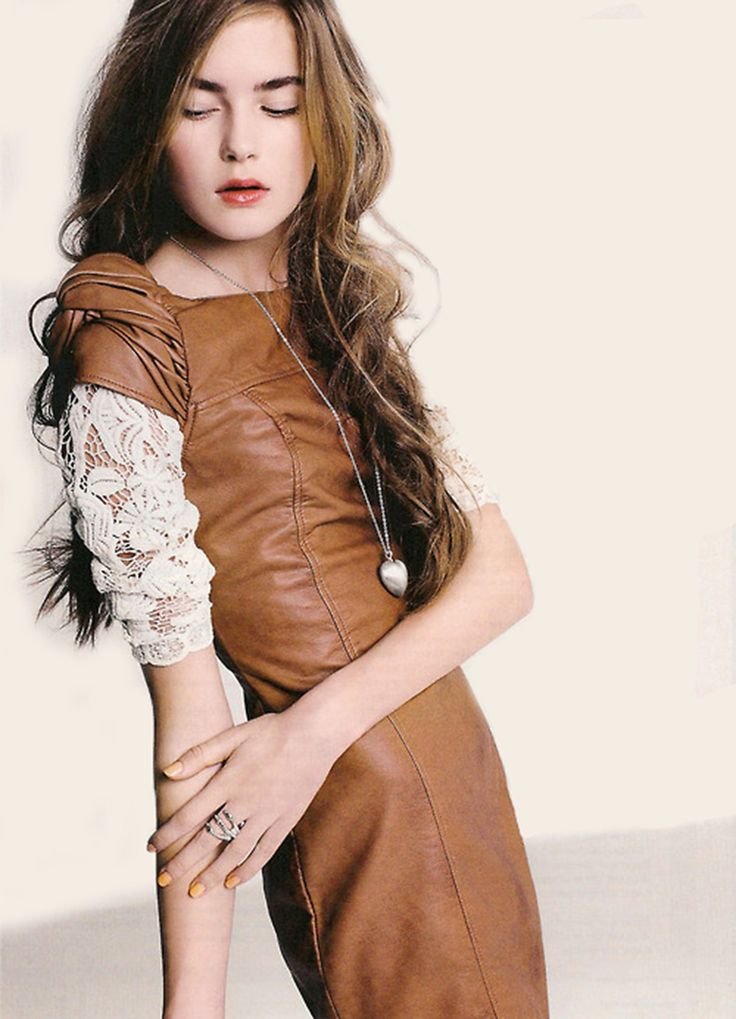 Leather and lace- love that combination. Leather doesn't have to be black.. Fall Fashion