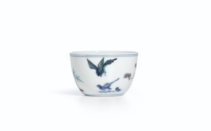 A fine doucai 'Magpies and Prunus' cup, Mark and period of Yongzheng