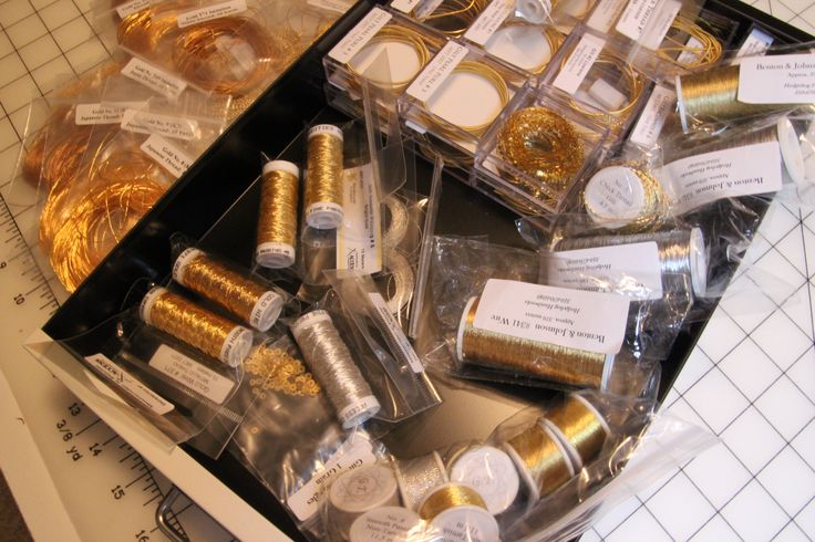 Selecting gold threads for Easter Set Pulpit Fall Ecclesiastical Embroidery