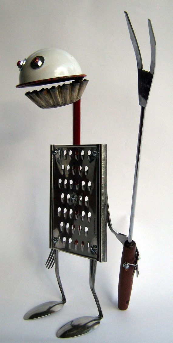 RECYCLED Reused ROBOT Sculpture Angry Viking by BranMixArt