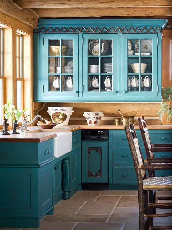 Dark Teal Cabinets Rustic Look Kitchen Dream Home
