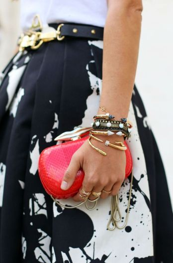 black, white & red all over. splatter paint skirt & graphic clutch.