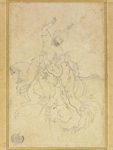 An unarmed horseman battles a dragon, Attributed to Aqa Mirak, Safavid Tabriz or Qazvin, circa 1540-50