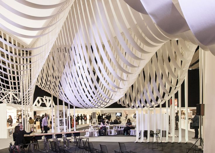 This pavilion was created out of 1500 metres of undulating paper strips