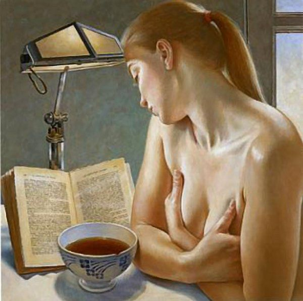 """Le Thé à la Chartreuse,"" Francine van Hove. Portrait of a young woman reading Stendhal's ""The Charterhouse of Parma."""