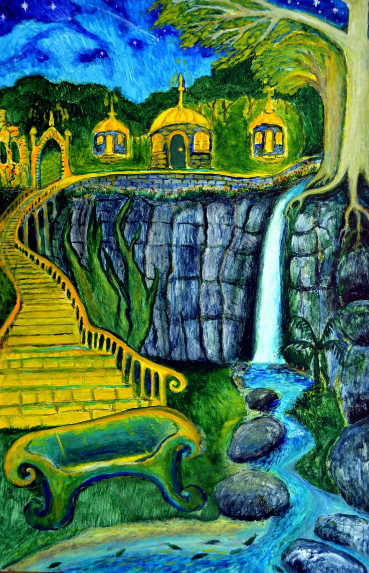 A vision of the Quarry Arts Centre, Whangarei, with domes on the high ledge. Painted in Gisborne October 2013, in acrylics on melamine-coated mdf I found dumped up the hill on reserve land. Photoshopped to make the sofa bigger!