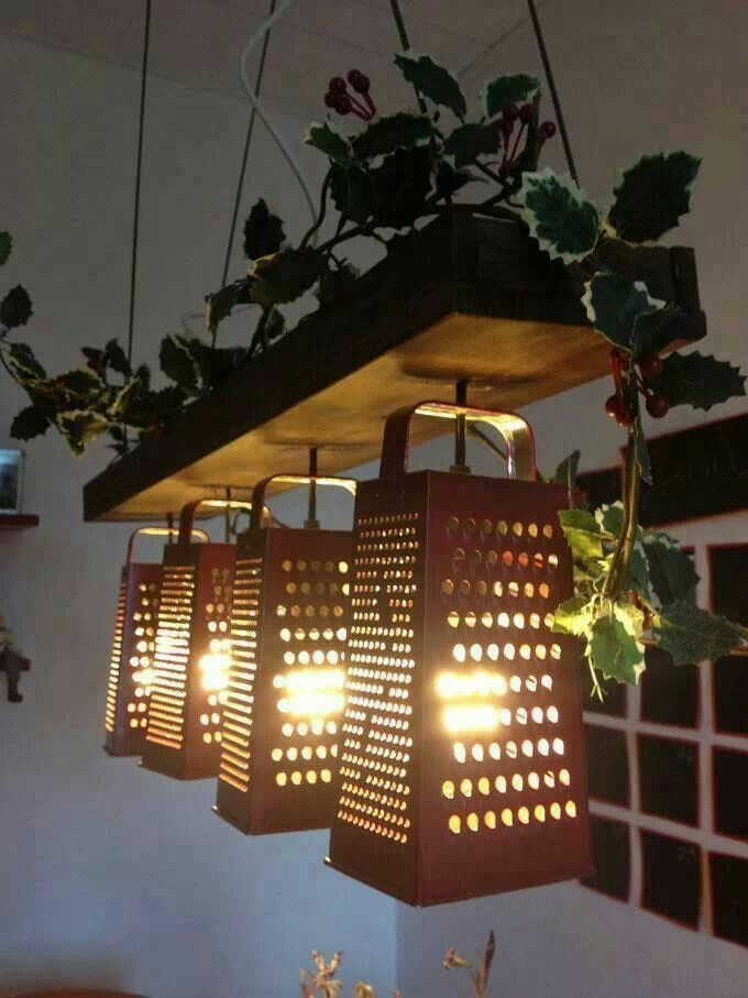 Cute lamp idea! Id love this in my kitchen for a dim light above an island or dinning room table.