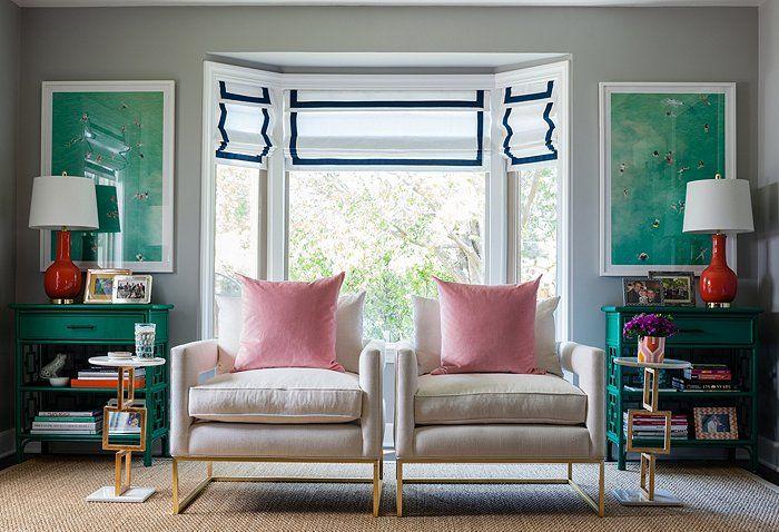 Pops of emerald in Gray Malin's living room makeover.