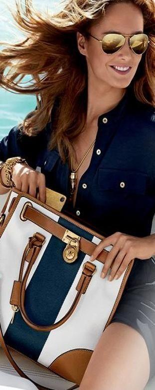 Great bag!  Also love the blouse and sunglasses.  MK Fashion  | LBV ♥✤ | KeepSmiling | BeStayElegant via @kamarobb78. #MichaelKors #accessories