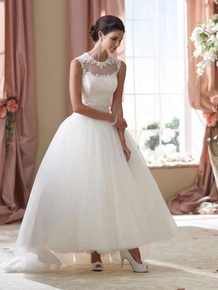 Romantic tea length wedding dress by David Tutera - Style Elsie 114294 #wedding #dresses