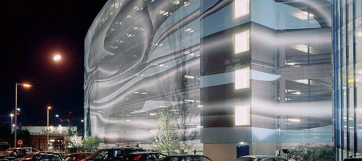 Airport Car Park - Vienna, Austria | Textile printed facade Stamsil FT by Serge Ferrari | Architect: 25PEACES-Typico