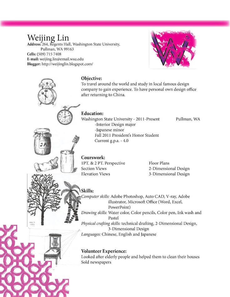 interior design resume sample pinterest 24 cover letter template