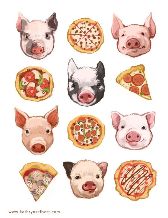 Fine Art Print  Pigs and Pizza Illustration by kathrynselbert, $22.00