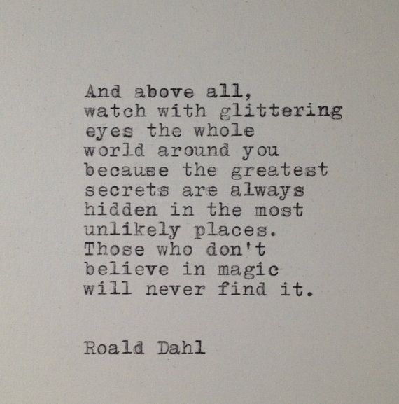 Roald Dahl Quote Typed on Typewriter by farmnflea on Etsy, $9.00