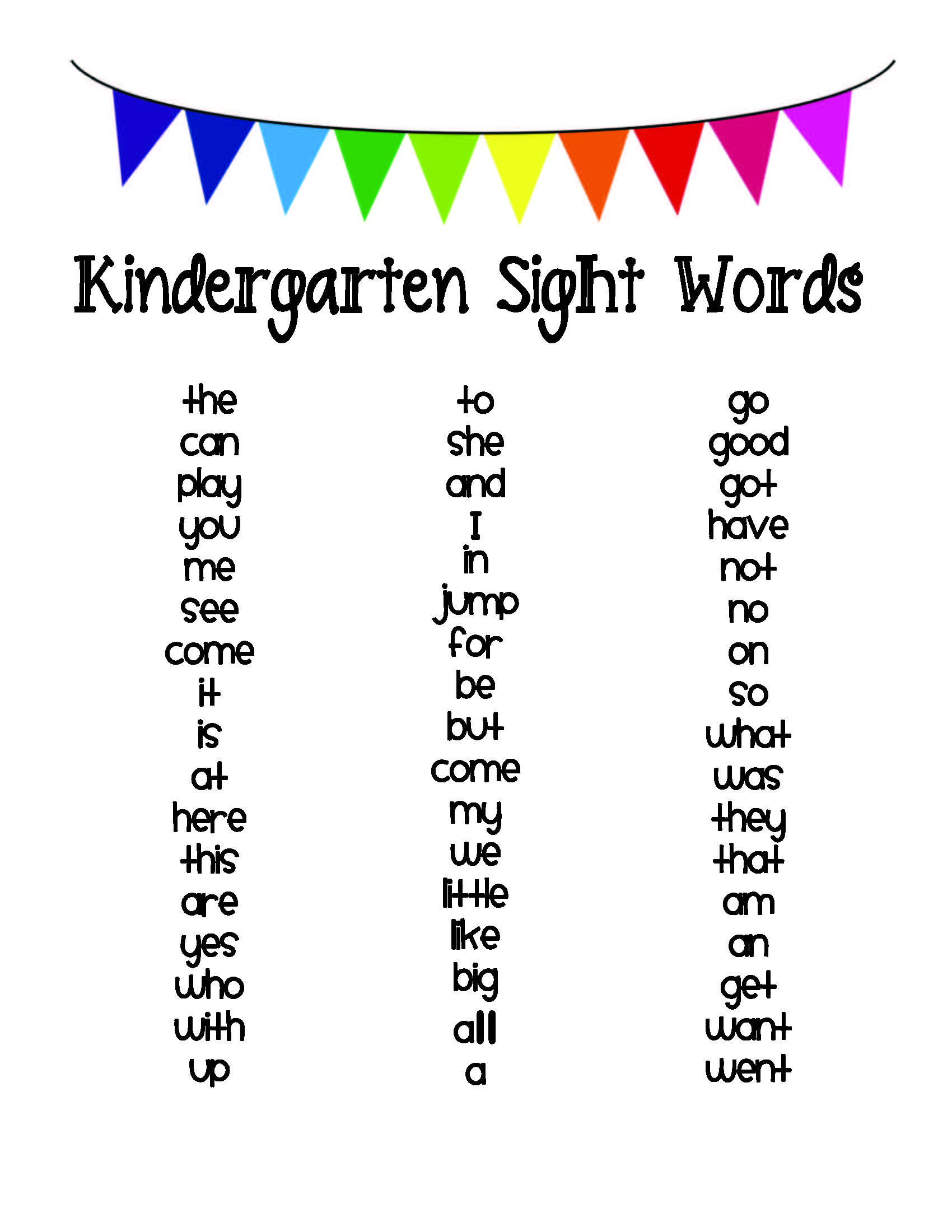 Pre Kindergarten Words