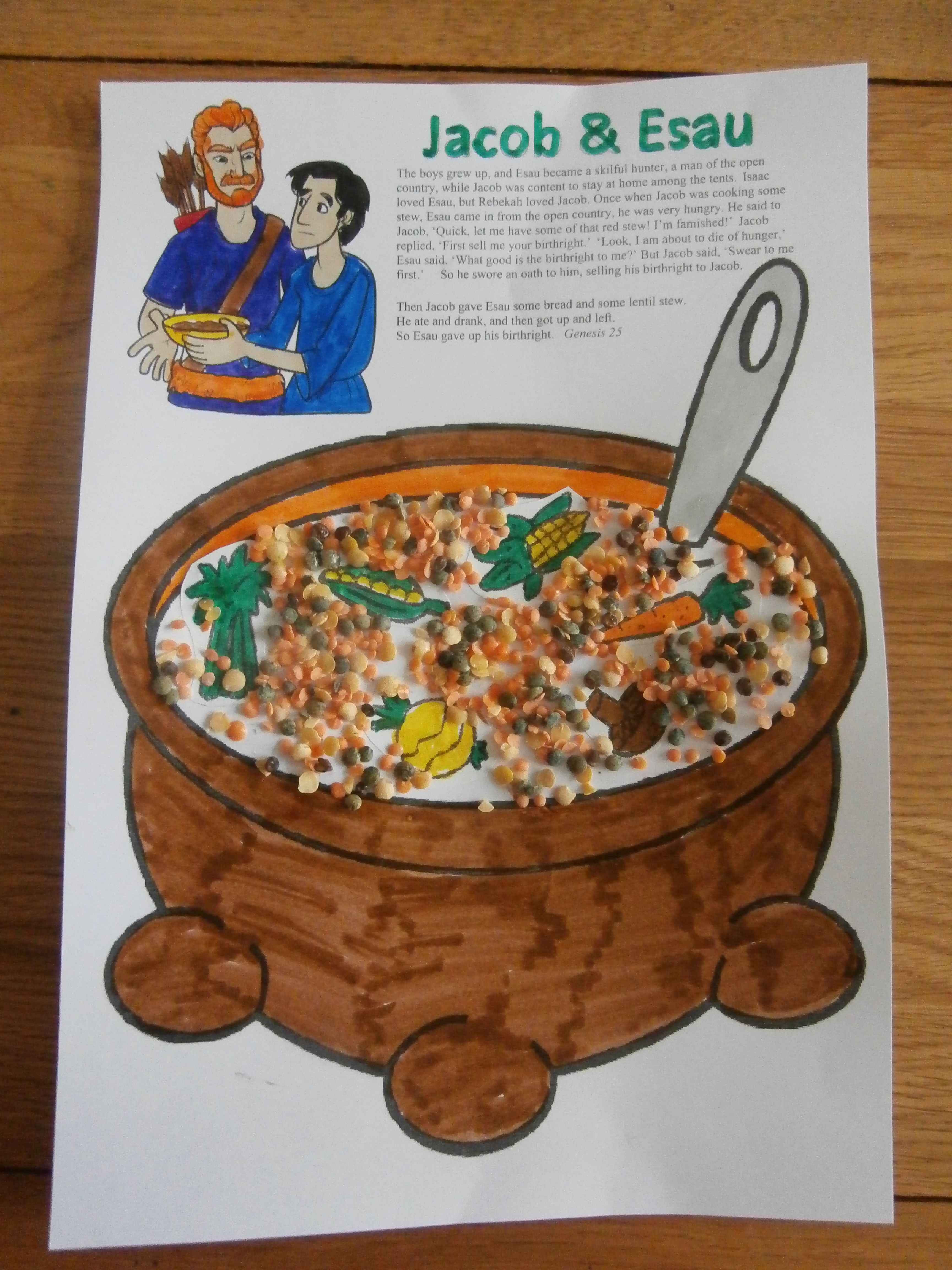 Jacob And Esau Lentil Stew Craft Children S Bible Class