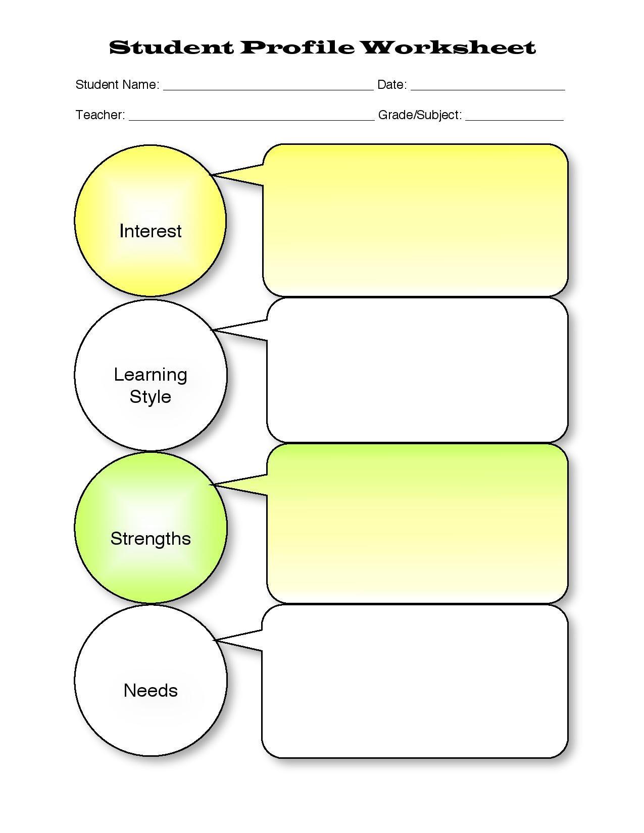 Iep Profile Worksheet P1