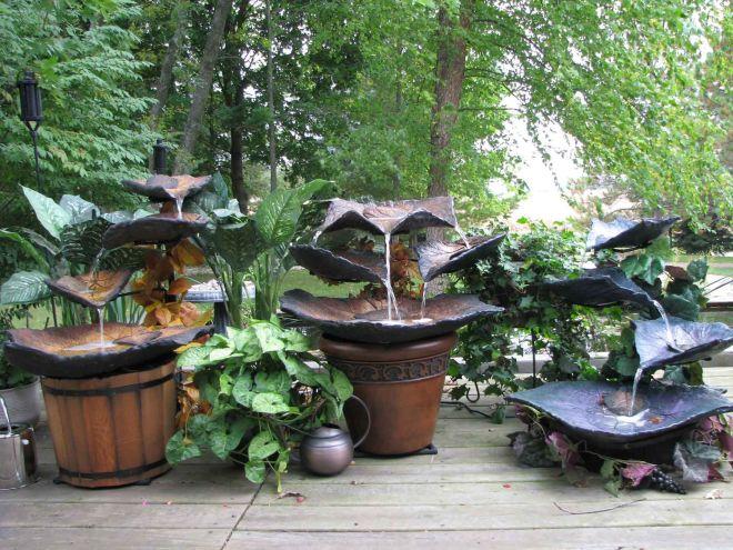 Concrete leaf fountain backyard fun pinterest