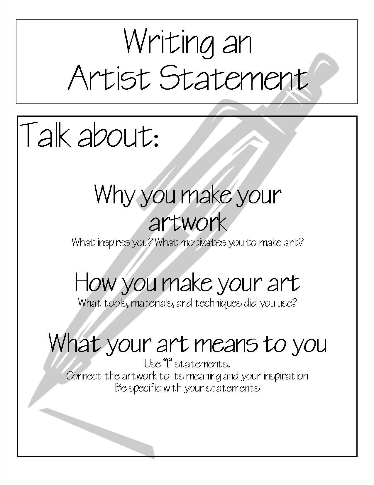 Write An Artist Statement
