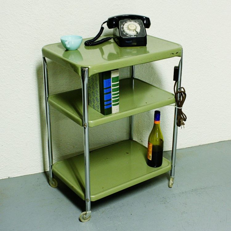 Vintage Metal Cart Serving Kitchen Way Things Used