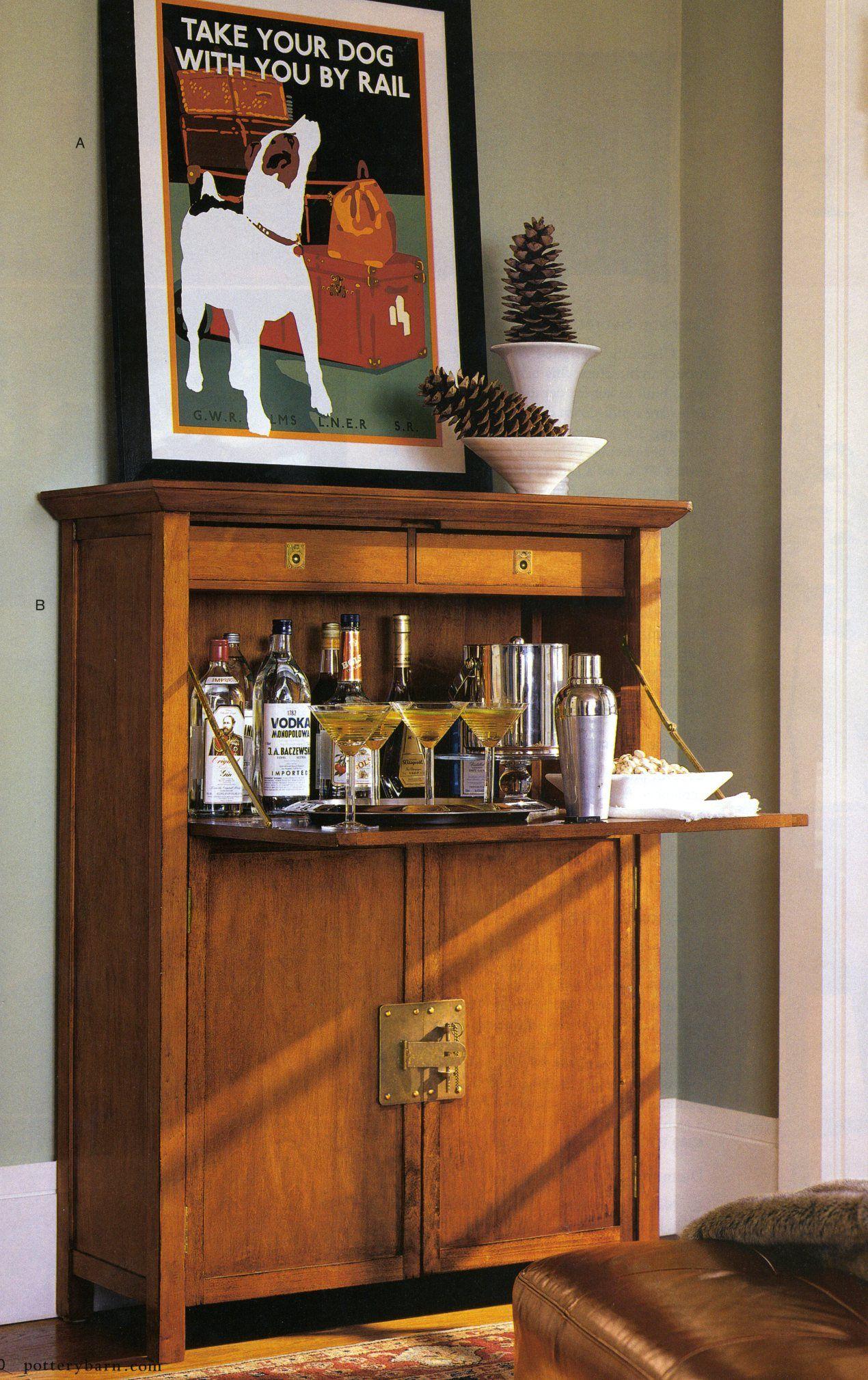 Liquor Cabinet In A Secretary Desk Tasty Beverages