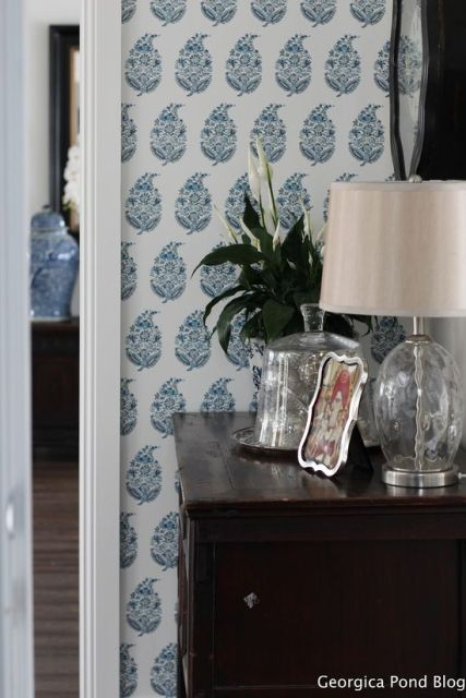 GEORGICA POND Schumacher wallpaper on our entrance wall.