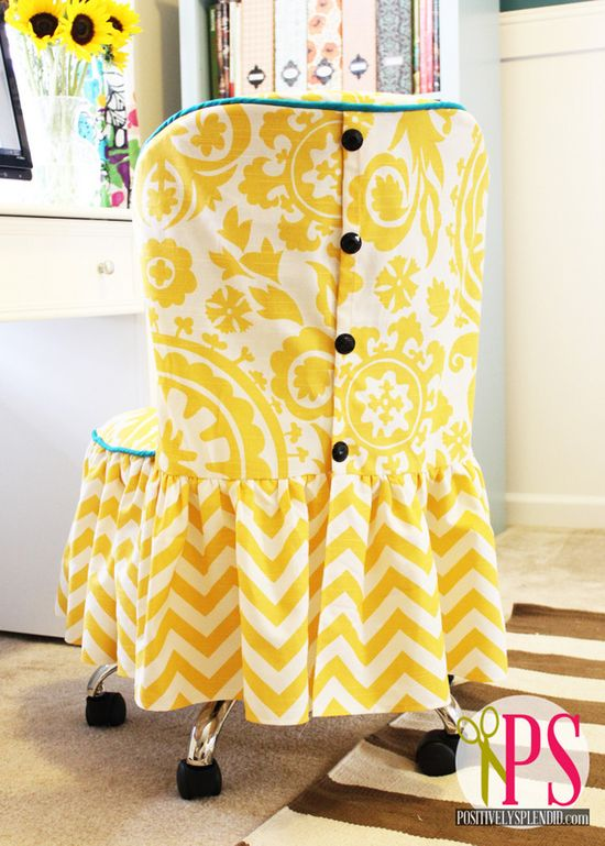 DIY Office Chair Slipcover Tutorial ~ love the buttons: PositivelySplendid.com