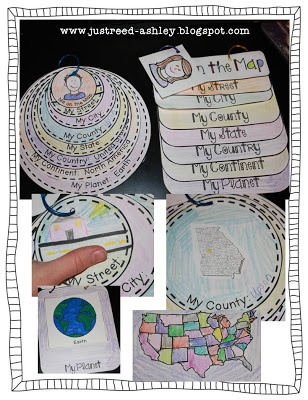 Just ReedChoose from a circle map or rectangular map to show children their place in the worl. Www.justreed-Ashley.blogspot.com