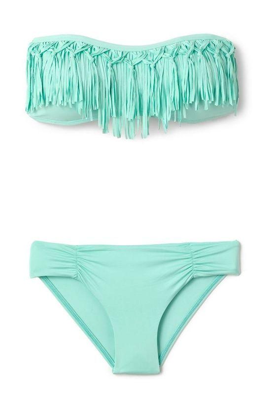 teal fringe bikini