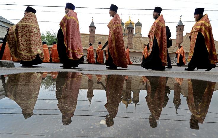 Una processione di Mosca, in Russia, per celebrare i santi Cirillo e Metodio, considerati i Patroni di Tutti i Popoli slavi.  (Kirill Kudryavtsev / Afp)