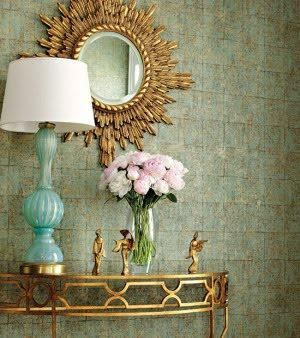 LOVE this for my stairway landing. Like the open look, the gold. Aqua and gold Entry hall idea  - (Thibaut Design - Thibaut wallpaper, gold sunburst mirror, gold demilune table and ...)