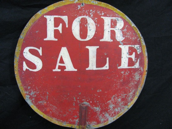 Vintage Double Sided For Sale Sign Tin