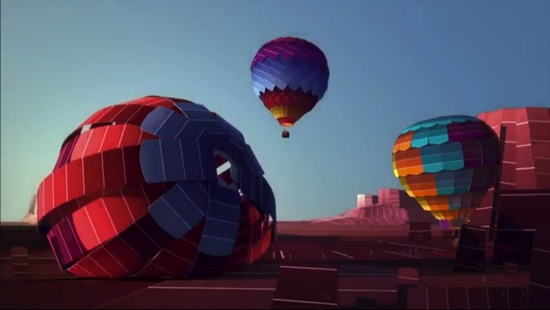 Getting ready to take off in a paint chip hot air balloon.