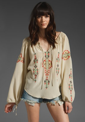 Hippie cute! Parker Native Embroidery Seed Beads Boho Top