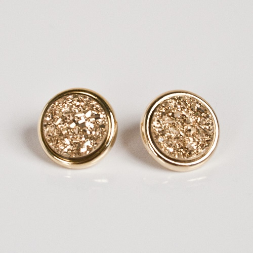 Marcia Moran Gold Druzy Stud Earrings - I need pierced ears.