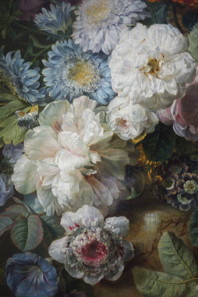❥ Vase de fleurs sur une table de pierre avec un nid & Un Verdier (dettaglio) ~ By Cornelis van Spaendonck, 1789.  Musée du Louvre, Parigi