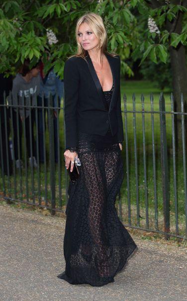 Kate Moss in an Alessandra Rich dress, Saint Laurent jacket