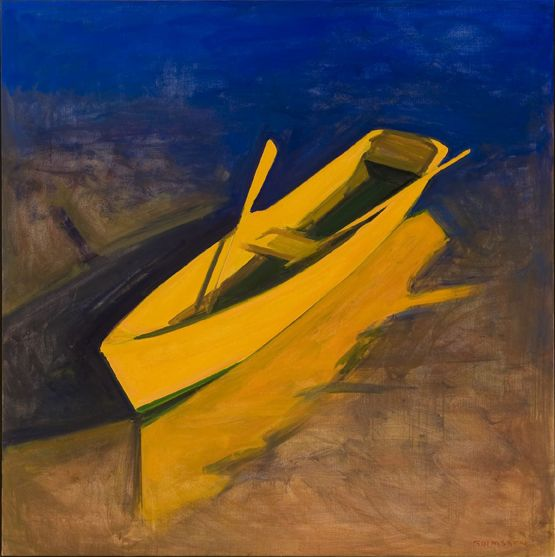 "Kurt Solmssen  Yellow Boat Evening, oil on canvas, 50 x 50"", 2009"